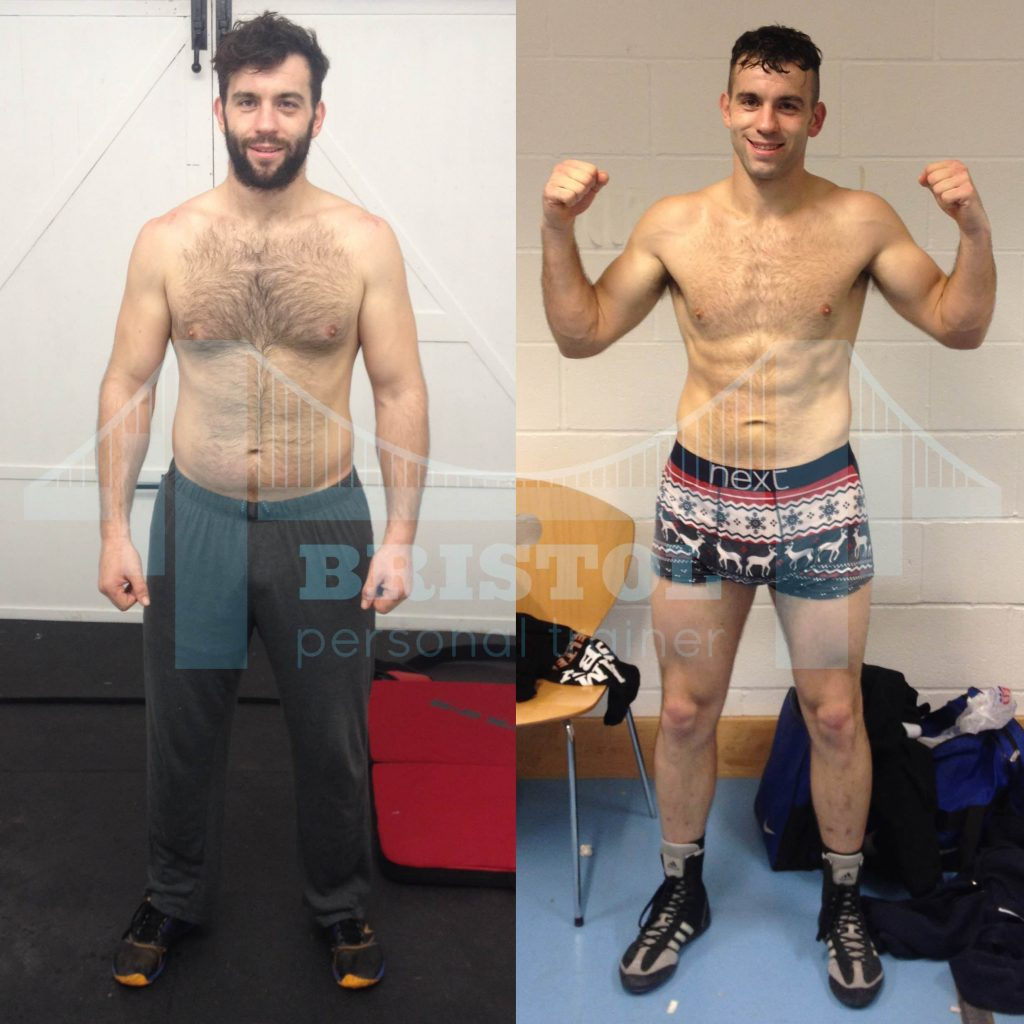Before and after photographs of David Bailey after training with bristol personal trainer in preparation for his professional boxing debut