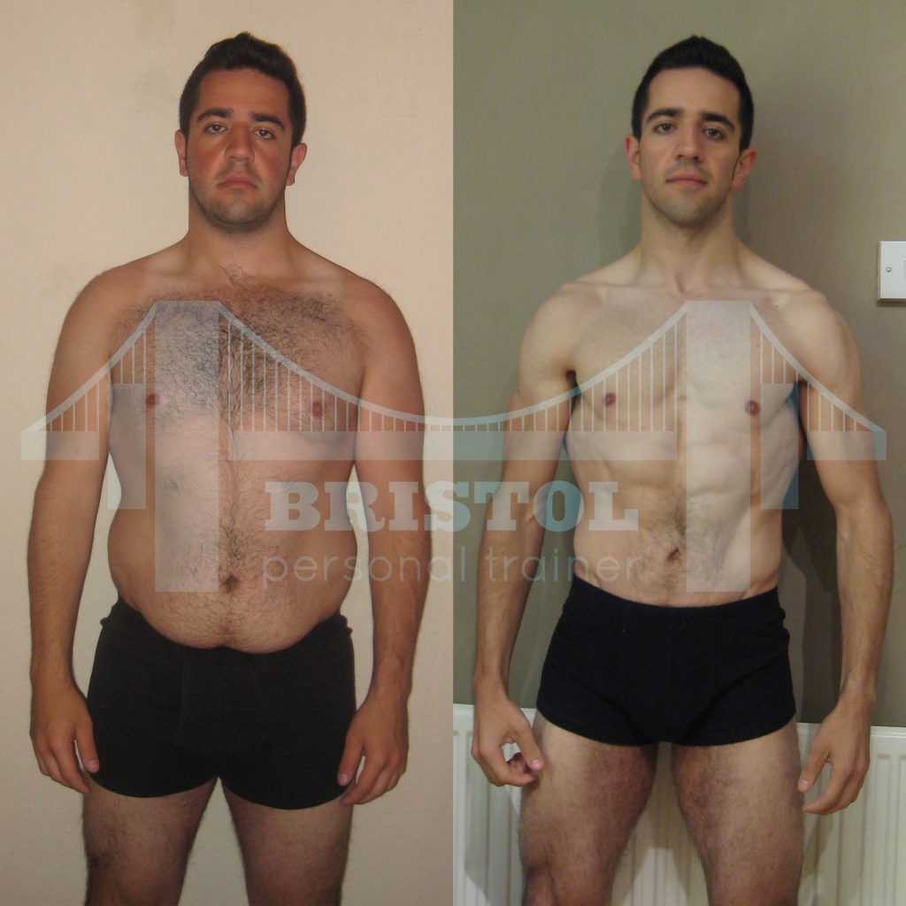 Oli Corse's incredible transformation achieved while training with Bristol Personal Trainer.