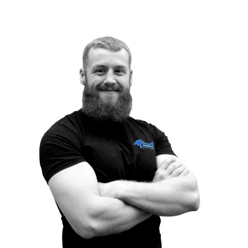 Black and white portrait photograph of one half of Bristol Personal Trainer, Henry Roy